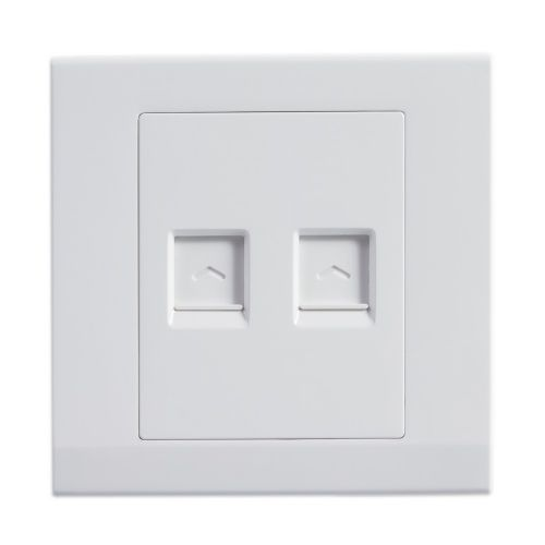 Simplicity White Screwless Double RJ45 Data Socket 07680